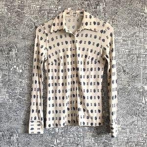 Céline Vintage Silk Floral Button Down Blouse